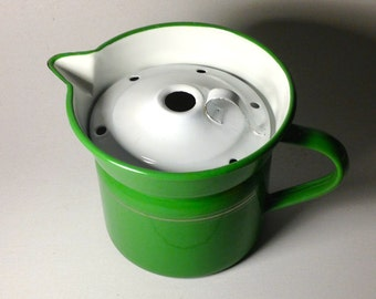 Vintage French Enamelware Green & Gold Pin-Striped Pitcher/Pot with Lid