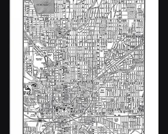 Indianapolis Vintage Map - Indianapolis - White - Print - Poster