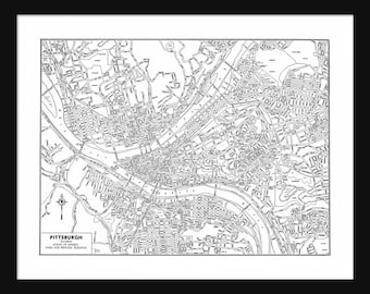 Pittsburg Vintage Map - Pittsburg - White - Print - Poster