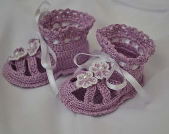 Purple Baby Sandals with flowers, Crochet Baby Sandals, Crochet Baby Shoes, Newborn and Infant Shoes, Sandals for Baby, Baby shower gift