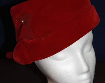Red Vintage Pillbox Hat