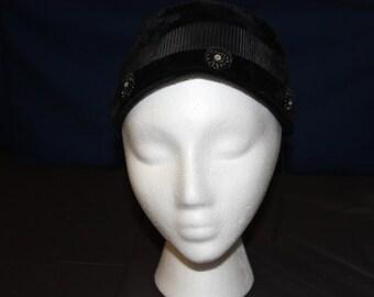 Vintage Black Pillbox Hat