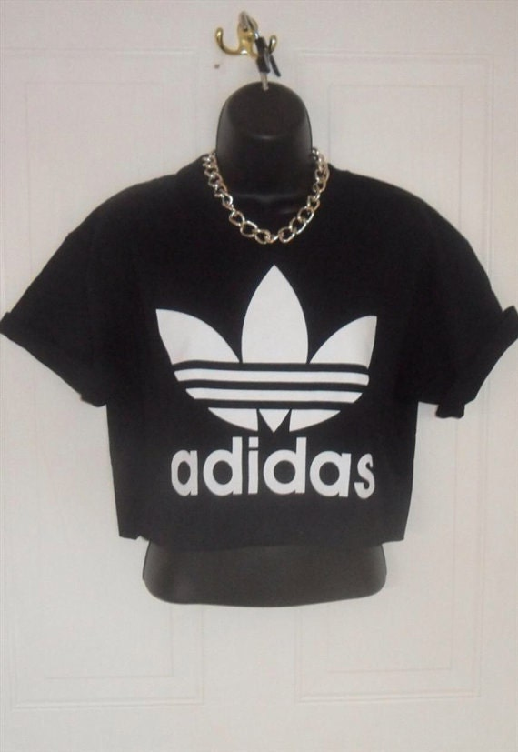 unisex customised adidas crop top t shirt top grunge festival. Black Bedroom Furniture Sets. Home Design Ideas