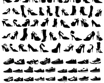 Shoe Silhouette Clipart, Shoe Clip Art, Shoe Clipart PNG & Vector EPS, AI Design Elements Digital Instant Download