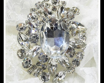 Large Rhinestone Brooch, Bridal Brooch #0149