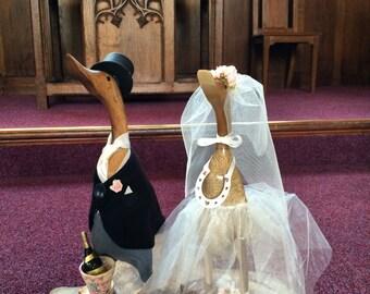 Large Wooden Wedding Ducks