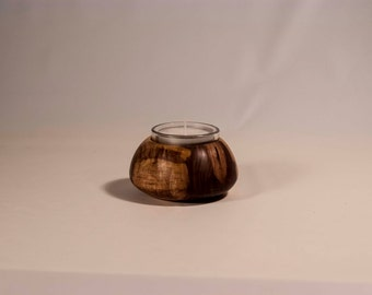 Walnut and candle holder