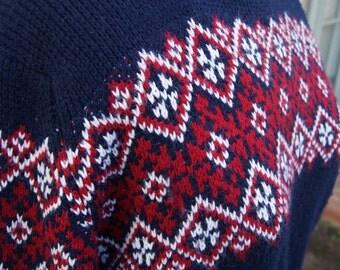 Midnight Blue Vintage Nordic Sweater