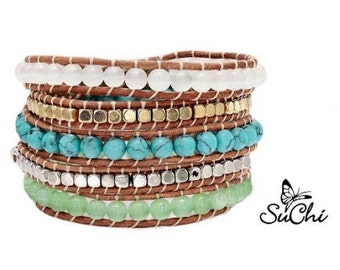 Leather Wrap Bracelet with gemstones