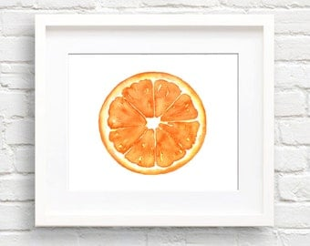 Orange - Art Print - Kitchen Art - Wall Decor - Watercolor Painting