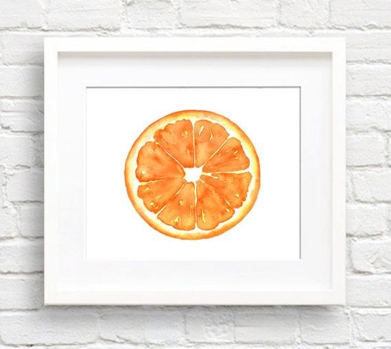 Kitchen Wall Decor Orange : Orange art print kitchen wall decor watercolor