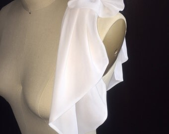 Beautiful White Chiffon Accessorie for any Dress or Top. We can do it in Your Favorite Color.