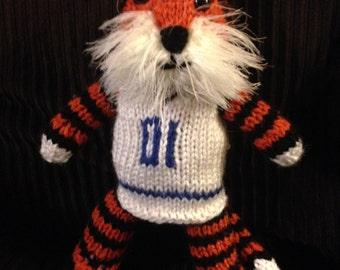 Hand Knit  Fuzzy Aubie the Auburn Tiger/soft toy/stuff animal