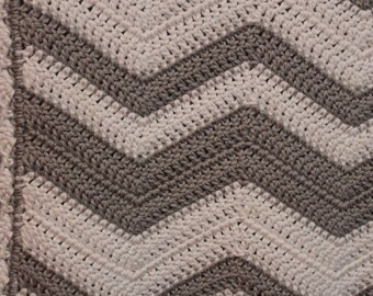 Gray and White Chevron Baby Blanket, Crochet Blanket, Cotton Blanket, Crib Blanket