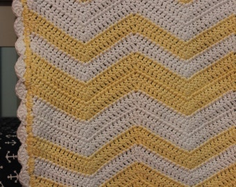 Yellow and White Chevron Crochet Baby Blanket