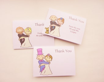 Personalised Wedding Thank you Cards - Hugging Pose. Everything can be customised!