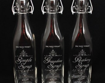 Custom Laser Engraved Swing Top Bottle for your Favorite Infusions and Syrups