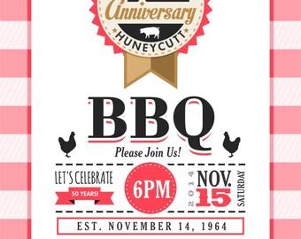 50th Anniversary BBQ Invitation