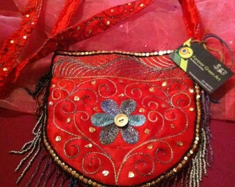 Forever Green Art - Red Beaded Purse