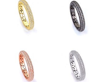 Gold Plated CZ Eternity Ring 5mm - 14K Cubic Zirconia Yellow Rose Pink Silver Black Rhodium Band Wedding Band Stacking