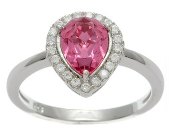 Pink Sapphire Pear Halo CZ Ring Simulated Manmade Cubic Zirconia Sterling Silver Rhodium