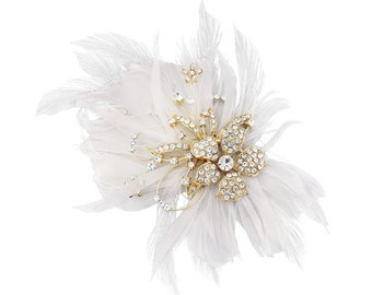 Feather Embellished Hair Jewel Golden finish, bridal couture, bridal hair accessories