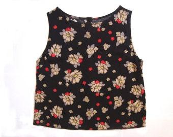 Black floral cami top