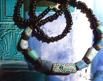 Rustic ethnic necklace beads glass beads, Earth, and wood