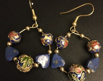 Cloisonne and Lapiz Earrings
