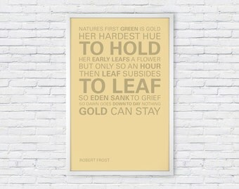 Robert Frost Poster Print Quote - Nothing Gold Can Stay