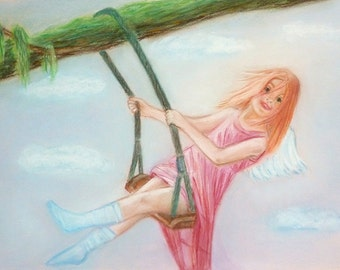 MADE TO ORDER! Original painting from the artist Pastel drawing The painting Happy Angel Painting in the nursery Painting gift Gift Interior