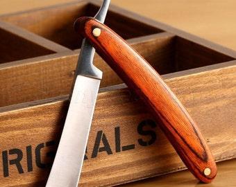 Straight Edge Stainless Steel Wood Handle Barber Razor Folding Shaving Knife Kit