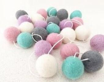 Playful Pastel 2m Felt Ball Garland
