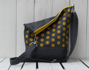 Canvas changing shoulder bag, crossbody bag DIAPER BAG, mustard grey polka dots messenger, back to school bag, birthday gift for wife