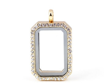HERITAGE Floating Locket, Gold Glass Lockets, Memory Locket With Crystals