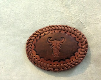 Leather Steer Skull Belt Buckle