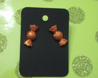 Orange candy wrapper earrings