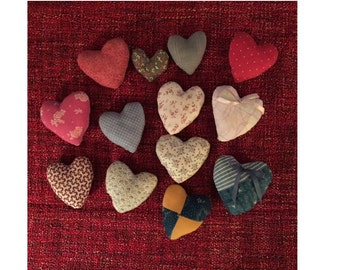 Quilt Hearts - A Baker's Dozen Various Sizes and Colors