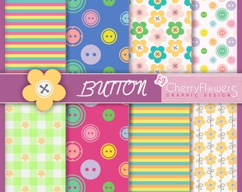 Digital scrapbooking-card buttons-blue red yellow green Quad-stitched Fuchsia flowers rows, invitations, labels, decoupage, prints