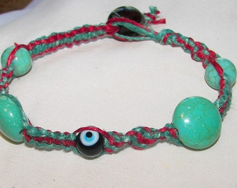Terquise and Red Hemp Bracelet