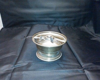 Old brass cigar ashtray with cutter