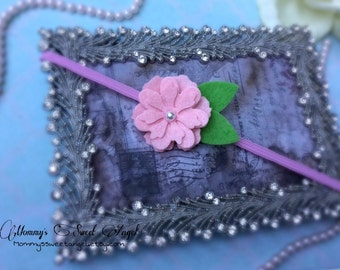 Felt flower headband, cherry blossoms headband, baby photo prop