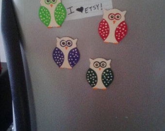 handpainted wooden owl magnets