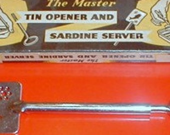 Sardine server and can opener original 1960's chrome plated