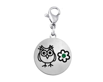 Owl Disc Charm With Personalized Birthstone