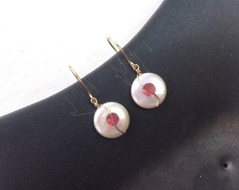 Gold Filled Wire Wrapped Coin Pearl & Rhodolite Garnet Earrings