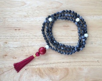 8MM Hand Knotted Natural Black Rutilated Quartz, White Tridacna Shell & Red Coral 108 Mala Tassel Necklace