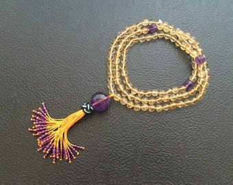 7MM Hand Knotted Natural Citrine & Amethyst 108 Mala Tassel Necklace