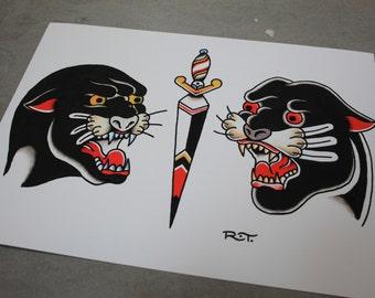Tattoo Flash Print - PANTHERS