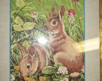 Les petits lapins dans la prairie.